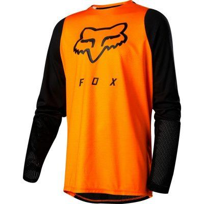 Оранжева блуза с черни дълги ръкави