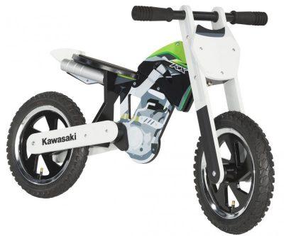 Бяло детско колело с надпис.
