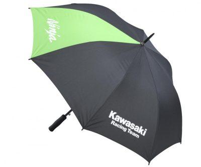 Сив чадър с надпис.