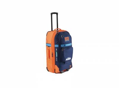 Синьо-оранжев голям куфар с лого.