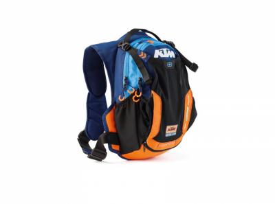 Синьо-оранжева раница с лого.