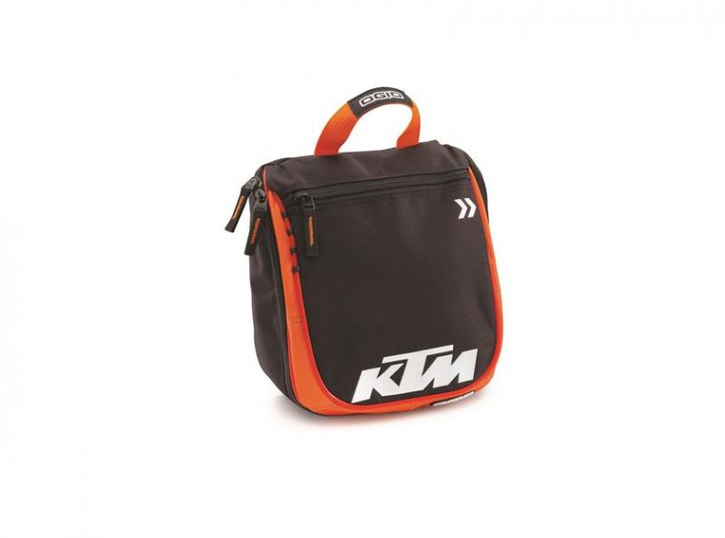 Сиво-оранжева чанта за тоалетни принадлежности с лого.