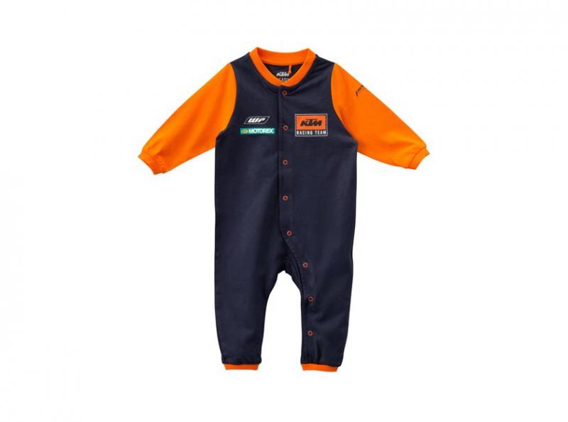 Синьо-оранжево бебешко боди с лого.