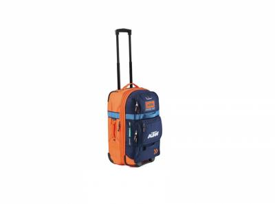Синьо-оранжев малък куфар с лого.