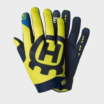 Сиво-жълти ръкавици с надпис.