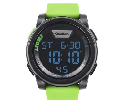 Зелен електронен часовник с надпис.