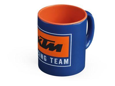 Оранжево-синя чаша с лого.