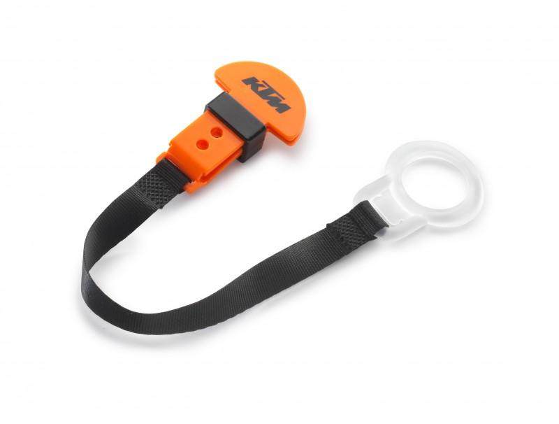 Оранжево-черна връзка за биберон с лого.
