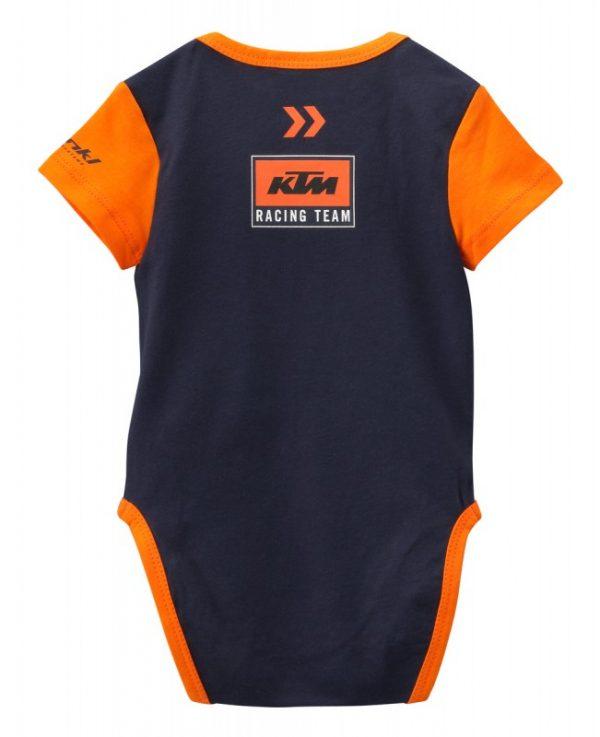 Синьо-оранжево детско боди с лого.