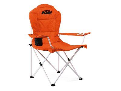 Оранжев стол с черно лого.