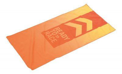 Оранжева кърпа с лого.