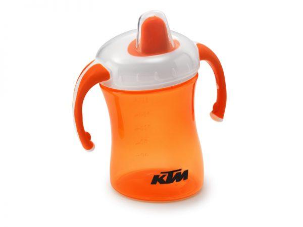 Оранжево бебешко шише с лого.