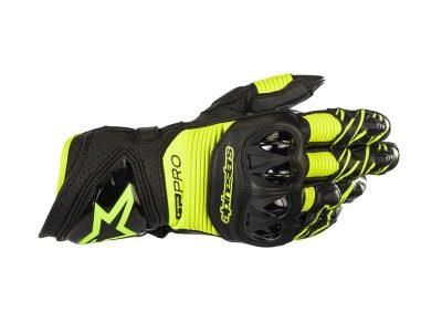 Черни и жълти ръкавици с лого.