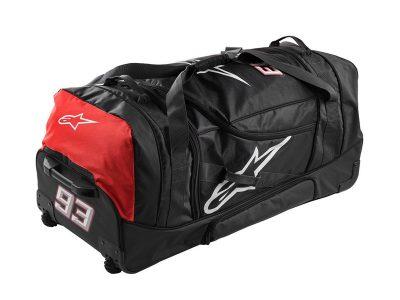 Сак на колела в черно и червено с лого.