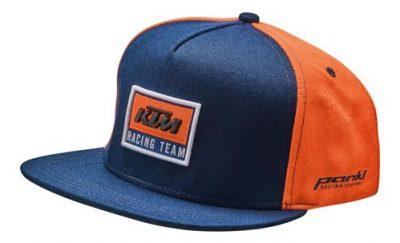 Оранжево-синя детска шапка с лого и надпис.