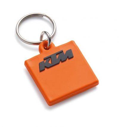 Гумен оранжев ключодържател с лого.