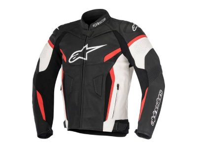 Кожено яке GP PLUS R V2 LEATHER JACKET BLACK WHITE RED ALPINESTARS