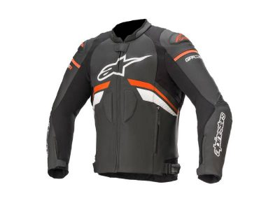 Кожено яке GP PLUS R V3 LEATHER JACKET BLACK RED FLUO WHITE ALPINESTARS