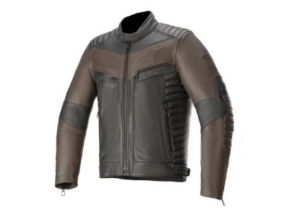 Кожено яке BURSTUN LEATHER JACKET BLACK BROWN ALPINESTARS