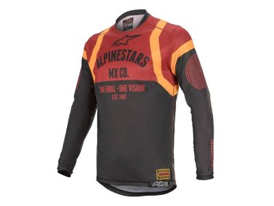 Блуза RACER TECH FLAGSHIP JERSEY BLACK BORDEAUX ORANGE ALPINESTARS
