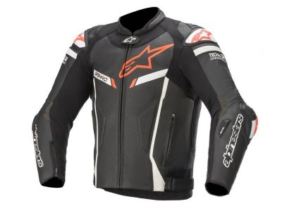 Яке GP PRO V2 LEATHER JACKET TECH-AIR COMPATIBLE BLACK WHITE RED FLUO ALPINESTARS