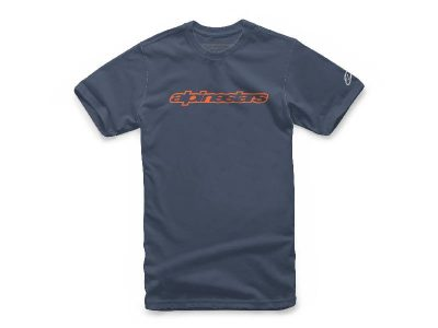 Тениска WORDMARK TEE NAVY ORANGE GREY ALPINESTARS