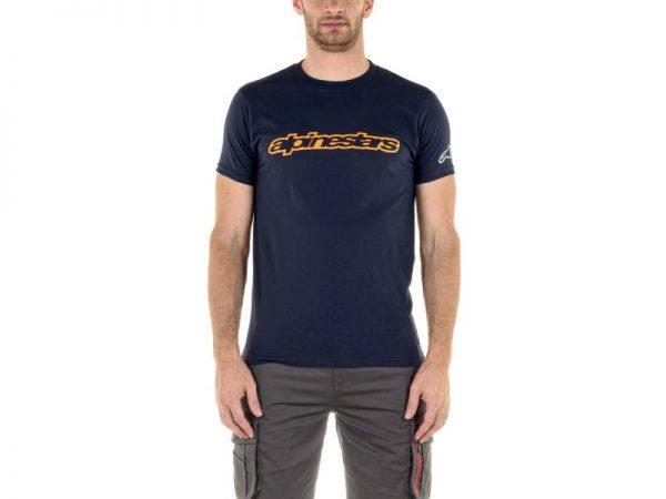 Тениска WORDMARK TEE NAVY ORANGE GREY ALPINESTARS