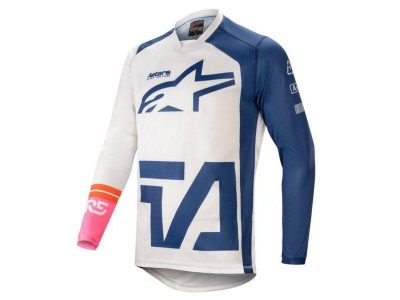 Блуза RACER COMPASS JERSEY OFF WHITE/NAVY/PINK FLUO ALPINESTAR